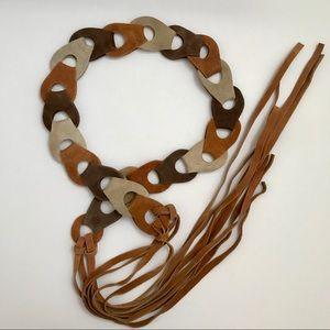 Vintage Suede Loop Boho Fringe Belt